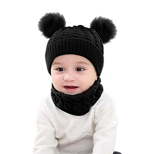 Borlai Strickmütze, Schal, Set mit Bommel, Mütze und Halstuch, warm, für den Winter, 1 - 6 Jahre, 2 Stück, Schwarz