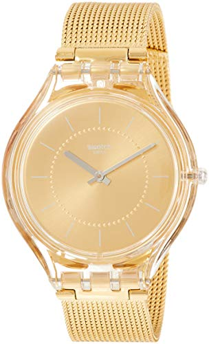Swatch Damen Analog Quarz Uhr mit Edelstahl Armband SVOK100M