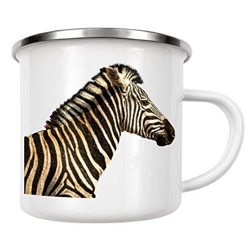 artboxONE Emaille Tasse Zebra Portrait von Thomas Frömmel - Emaille Becher Natur