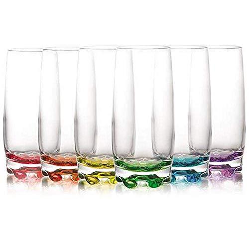 LAV Set mit 6 Highball-Glas, transparent, modern, mehrfarbig, 390 ml, für Wasser, Saft, Cocktail, mehrfarbig, 390 ml
