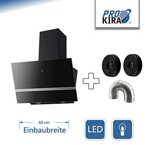 PROKIRA DH60GB-03 deluxe 600m³/h !!! Kopffreihaube Wandhaube Schräghaube Dunstabzugshaube Abluft Umluft Haube Schwarz LED Sensor touch Edelstahl Glas 60 cm