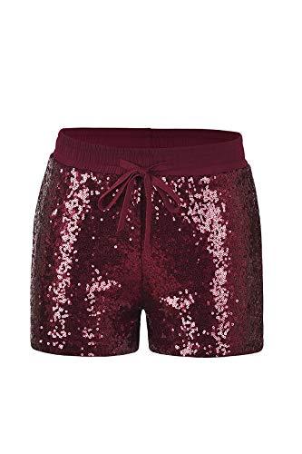 Fliegend Damen Shorts Metallic Hotpants Pailletten Kurze Hosen Mit Kordelzug Farbig Hosen für Täglich Nachtclub Streetwear XL