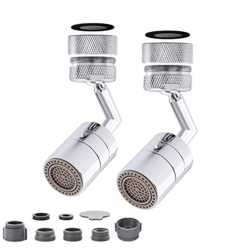 2pcs Universal Splash Filter Faucet 720 Rotating Faucet Extender Aerator with 2 Water Outlet Modes, All Copper Material,A Set of Accessories, Suitable for Kitchen and Bathroom Faucet Aerator