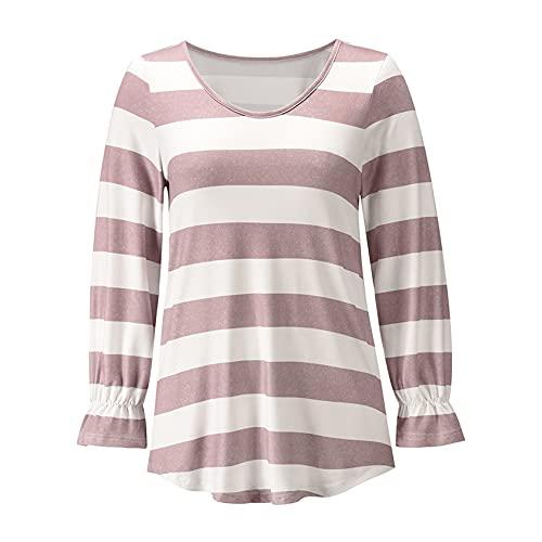 Autunno E Inverno Moda Donna Casual Girocollo A Righe Stampato Maglione Pullover Allentato Manica Lunga Top T-Shirt Donna
