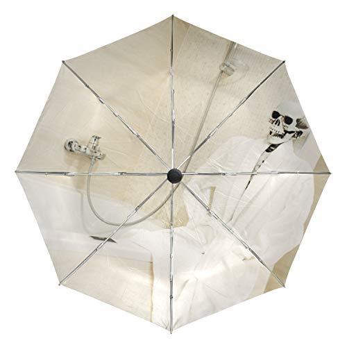 Automatischer Regenschirm, winddicht, wasserdicht, UV-Schutz, lustiger Totenkopf-Dusch-Bademantel, kompakter Reiseschirm – 3-fach faltbar, automatisches Öffnen/Schließen, Sonne und Regen