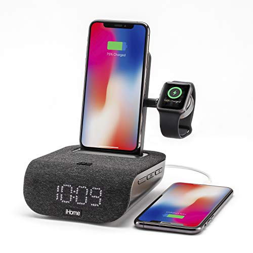 iHome TIMEBASE PRO+ Triple Charging Alarm Clock | Qi-Certified Wireless Charging, Apple Watch Charger, Bluetooth Speaker, with iPhone 12 mini adapter, USB Charging and Battery Backup (Model iWBTW200B)