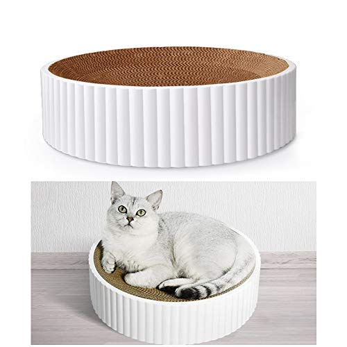 D85DS 40x40x10cm Katzen Kratzbrett Kratzmöbel Katze Cat Scratcher Massage Wellpappe Kratzmatten Kratzlounge Kratzspielzeug, Recycelbar Kratzpad aus Qualitäts-Pappe, Halten Sie Katzen Spaß und Gesund