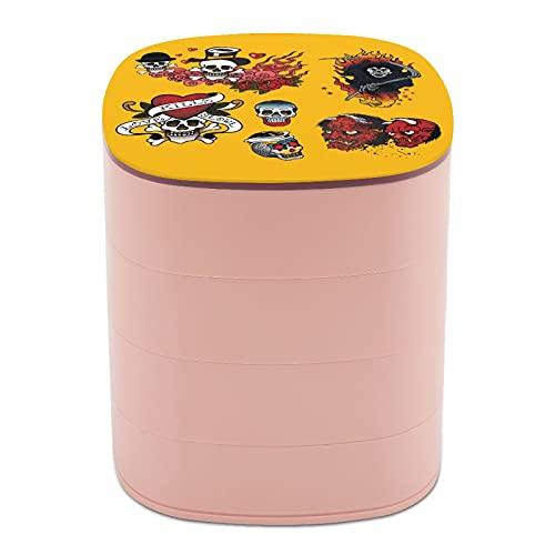 cajas de joyería para viajes Rotar la caja de joyería Tattoo Art Skull Design Bat Devil cajas de joyería para collares y collares, cajas de joyería para almacenamiento protección caso suave