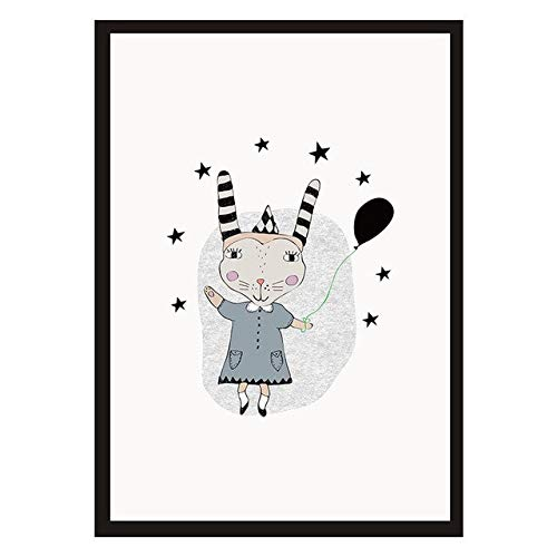N / A Animal Cute Rabbit Canvas Painting Art Print Mural Home Decoration Painting Abstract Poster Frameless 30x40cm