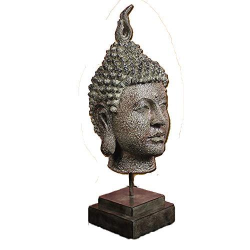 ZHZX Retro Skulptur, Imitation Kupfer Buddha Kopf Harz handgefertigte Statue, für Innenraum dekorieren, 53cm hoch