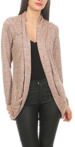 Malito Damen Strickjacke lang | Cardigan im eleganten Design | Angesagter Oversize Look - Weste - Jacke 5021 (rosa)