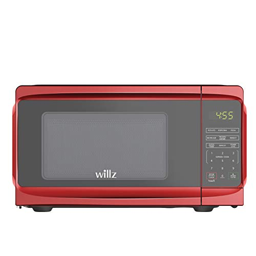 Willz WLCMV807RD-07 Countertop Microwave Oven, 6 Cooking Programs, LED Lighting,Push Button, 0.7 Cu.Ft, Red