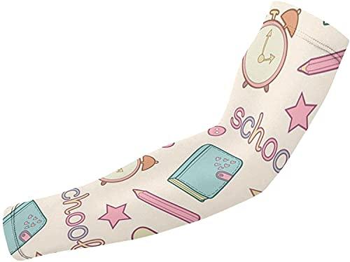 Manicotti di protezione UV per uomini donne e donne scaldamuscoli copertura - bianco - taglia unica, carino scuola con diario a compressione