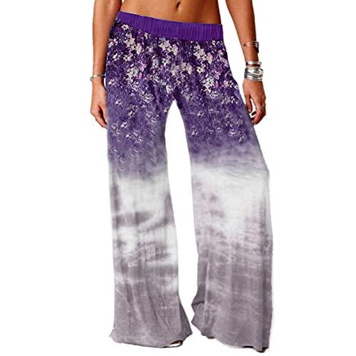 URIBAKY - Pantalón de pijama para mujer, estampado de pantalón largo con cordón elástico y elástico, malva, L