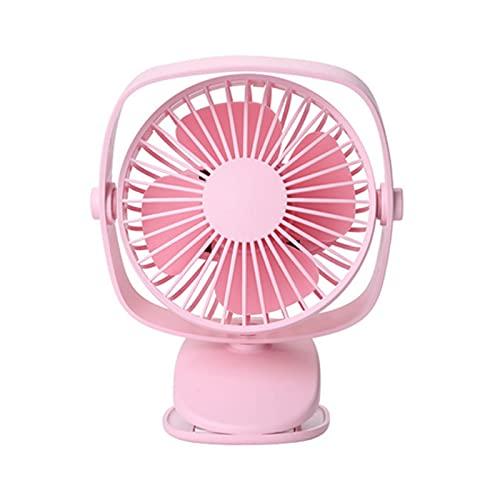 WANGLX Clip en El Ventilador del Cochecito Mini Ventilador de Escritorio Personal con USB Recargable con Pilas para La Habitación del Hogar Cama de Bebé,Pink