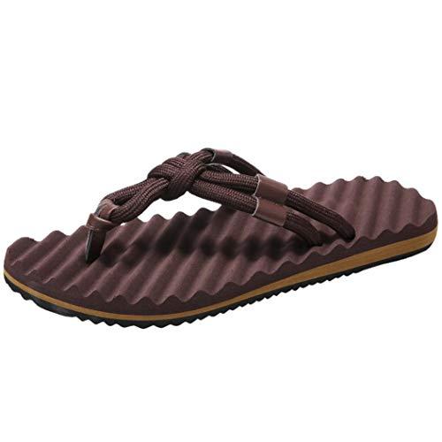 FORUU Men Summer Beach Sandals Flat Shoes Sandal Hombre Sewing Shoes Flip Flops Shoes Brown