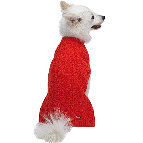 """Blueberry Pet Classic Wool Blend Cable Knit Pullover Dog Sweater in Tomato, Back Length 12"""", Pack of 1 Clothes for Dogs"""