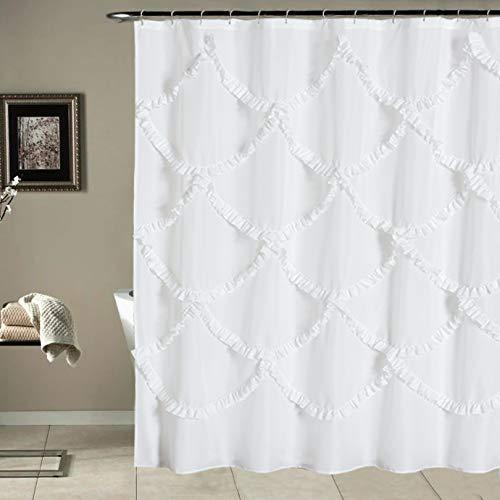 Duschvorhang mit Rüschen, für Badezimmer, Landhaus, rustikal, waschbar & wasserdicht, 183 x 213 cm lang