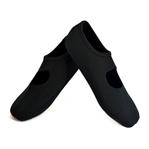 NuFoot Mary Janes Women's Shoes, Best Foldable \& Flexible Flats, Slipper Socks, Travel Slippers \& Exercise Shoes, Dance Shoes, Yoga Socks, House Shoes, Indoor Slippers, Black, Extra Large