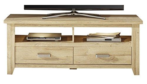 trendteam Wohnzimmer Lowboard Fernsehschrank Fernsehtisch Canyon, 143 x 57 x 48 cm in Alteiche Dekor mit zwei offenen Fächern