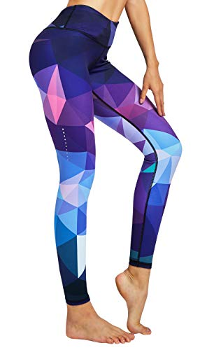 COOLOMG Damen Tights Yoga Hosen Kompression Leggings Sport Trainingshose Lang Diamond Forest S