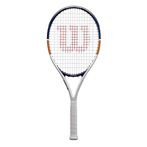 Wilson Raqueta de tenis, Roland Garros Elite, Aleación AirLite, Blanco/azul/naranja, WR030610U3