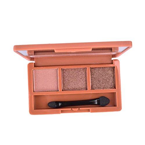 MagiDeal Palette de Maquillage Palette de Fard à Paupières Matte Naturel avec Applicateur Brosse 3 Couleurs de Longue Durée - #B