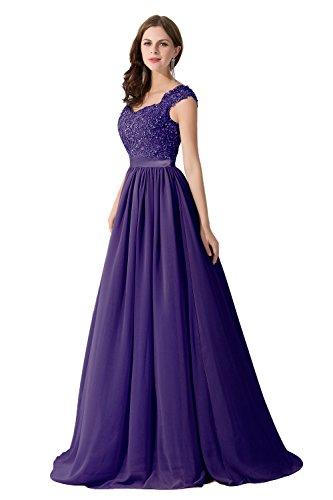 Damen Elegant Chiffon Herzform Abendkleid Ballkleid mit Spitze lang Lila 32