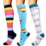 DRESHOW Calcetines de Compresión para Hombres y Mujeres 3/7 Pares 15-20 mmHg es el Mejor para Running, Correr, Senderismo, Volar, Viajar, Varicosas, Médico, Deportivo, Embarazo