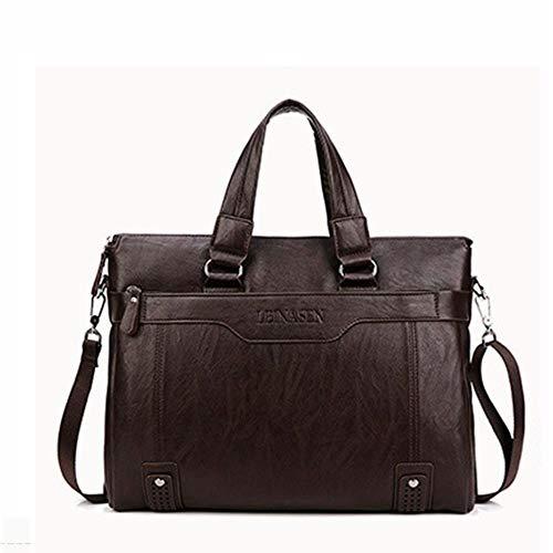 FICI Business Mannen Aktetas casual leer 14inch Laptop tassen Mannen schoudertassen voor mannelijk kantoor Aktetas, donkerbruin
