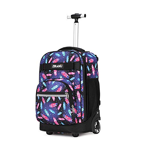 XWWS Wheeled Backpack - 2-in-1 Starry Sky Trolley Schoolbag, Waterproof Large Capacity Suitcase, Best Gift for Children,A
