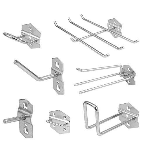 VilLCASE Surtido de ganchos para paneles perforados, 7 unidades, taller, garaje, portaherramientas resistentes, para gancho de montaje de pared, perforado para organizar diversas herramientas