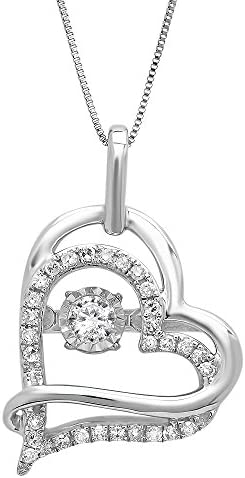 10k White Gold Genuine Dancing Diamond Heart Pendant Necklace 1 5 cttw J K Color I2 I3 Clarity product image