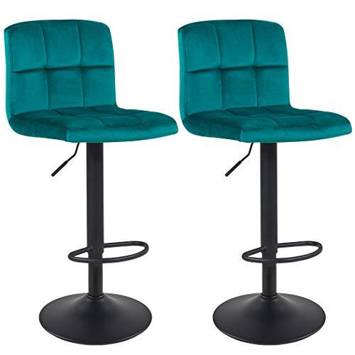 Duhome Barhocker 2X Barstuhl Kunstleder oder Stoff Tresenhocker Bar Sessel gut gepolstert höhenverstellbar mit Lehne eckig 451Y, Farbe:Petrol, Material:Samt