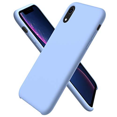 ORNARTO Custodia in Silicone Liquido per iPhone XR, Cover Sottile in Silicone Liquido in Gomma Gel Morbida per iPhone XR (2018) 6,1 Pollici-Azzurro