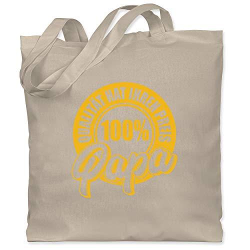 Shirtracer Vatertagsgeschenk - Qualität hat ihren Preis - 100% Papa - gelb - Unisize - Naturweiß - Stempel - WM101 - Stoffbeutel aus Baumwolle Jutebeutel lange Henkel