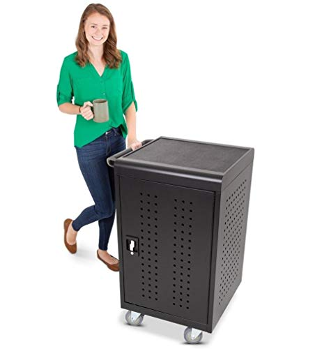 Line Leader 30 Unit Compact Mobile Charging & Storage Cart | Locking Cabinet Holds 30 Tablets, Laptops or Chromebooks | Mobile Lab w/Two 15-Outlet...