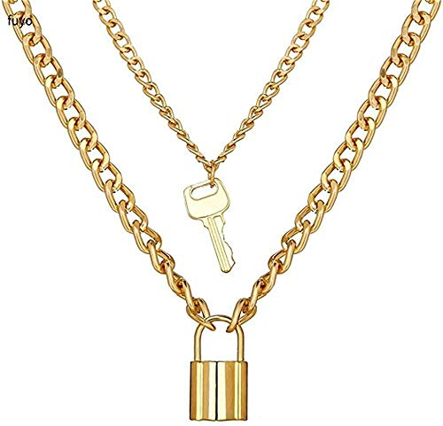 Yaoliangliang Necklace Key Lock Necklace Double Layer Punk Link Chain Padlock Pendant Necklace Hip Hop Women Mens Gothic Jewelry