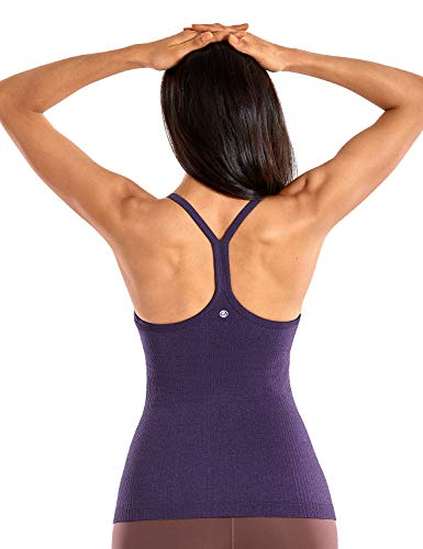 CRZ YOGA Seamless Workout Tank Tops for Women Racerback Athletic Camisole Sports Shirts with Built in Bra Berry Purple Small