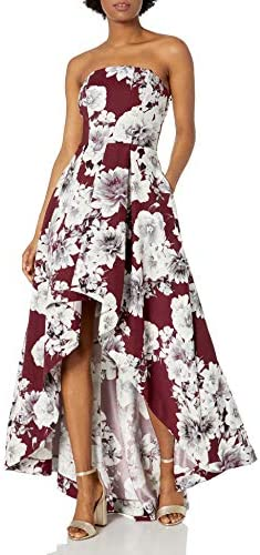Speechless Junior s Teen Strapless High Low Formal Prom Dress Burgundy Floral 5 product image