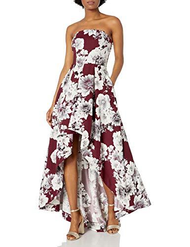 Speechless Junior's Teen Strapless High-Low Formal Prom Dress, Burgundy/Floral, 5