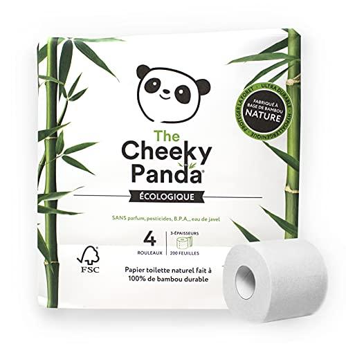 The Cheeky Panda – Toilettenpapier aus Bambus   4 Rollen (3 Lagen, 200 Blatt)   Hypoallergen, ohne Plastik, umweltfreundlich, super weich, robust & langlebig