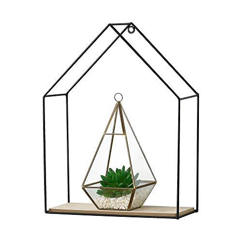 [en.casa] Wandregal Hausförmig Schweberegal mit 1 Ablagefach Metallregal Hängeregal 30 x 12 x 40 cm Schwarz