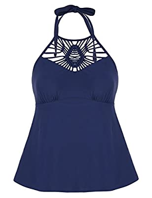 Hilor Women's Macrame Swimsuit Tops High Neck Tankini Swimwear Halter Bathing Suit Top Navy 20
