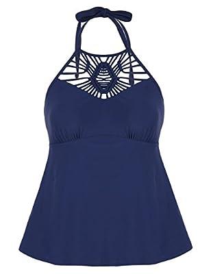 Hilor Women's Macrame Swimsuit Tops High Neck Tankini Swimwear Halter Bathing Suit Top Navy 20