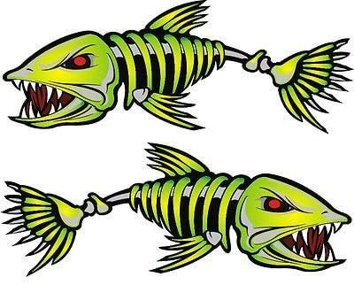HGL   2 Pcs Kayak Decals Fish Bones Skeleton Stickers for Laptop, Car, Truck,...