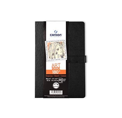 Cuad 14x21,6 cm, 80 Hojas, Canson Art Book 180º, Grano Fino 96g, Negro