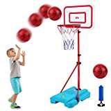 Portable Basketball Hoop for Kids, Adjustable Height Up to 6.3 Feet for Indoor Outdoor Basketball Game Mini Basketball...