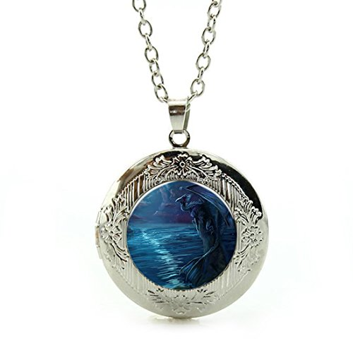 Women's Custom Locket Closure Pendant Necklace Bronze Vintage Ice Dinosaur Included Free Silver Chain, Best Gift Set