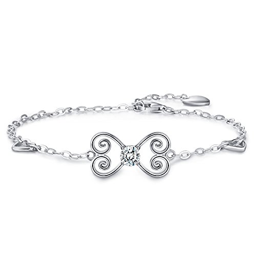 Billie Bijoux Womens 925 sterling Silver Infinity Endless Love Symbol Butterfly Charm Adjustable Bracelet White Gold Plated